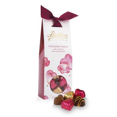 Butlers Collection Milk Truffle & Dark Passionfruit  Hearts Tapered Box, 125G