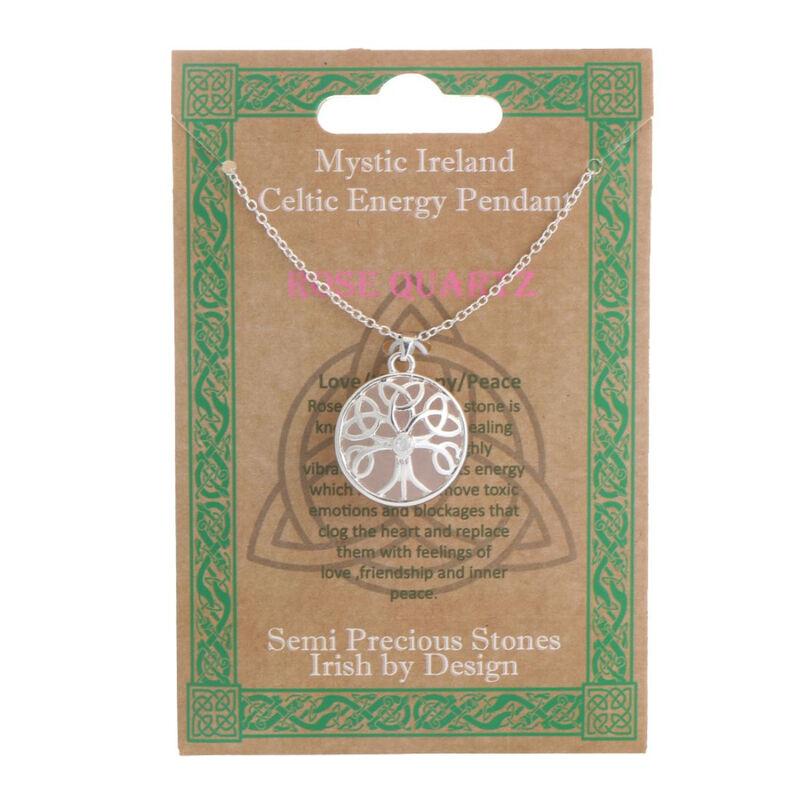 Mystic Ireland Rose Quartz Semi Precious Stone Celtic Energy Pendant