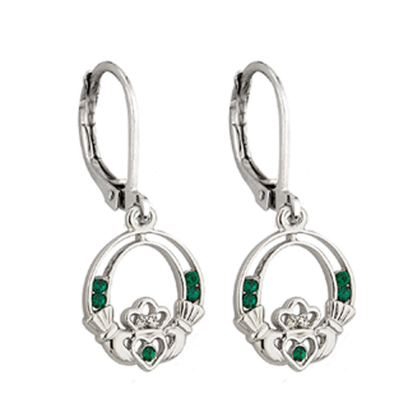 Rhodium Plated Claddagh Drop Earrings With Green Crystal