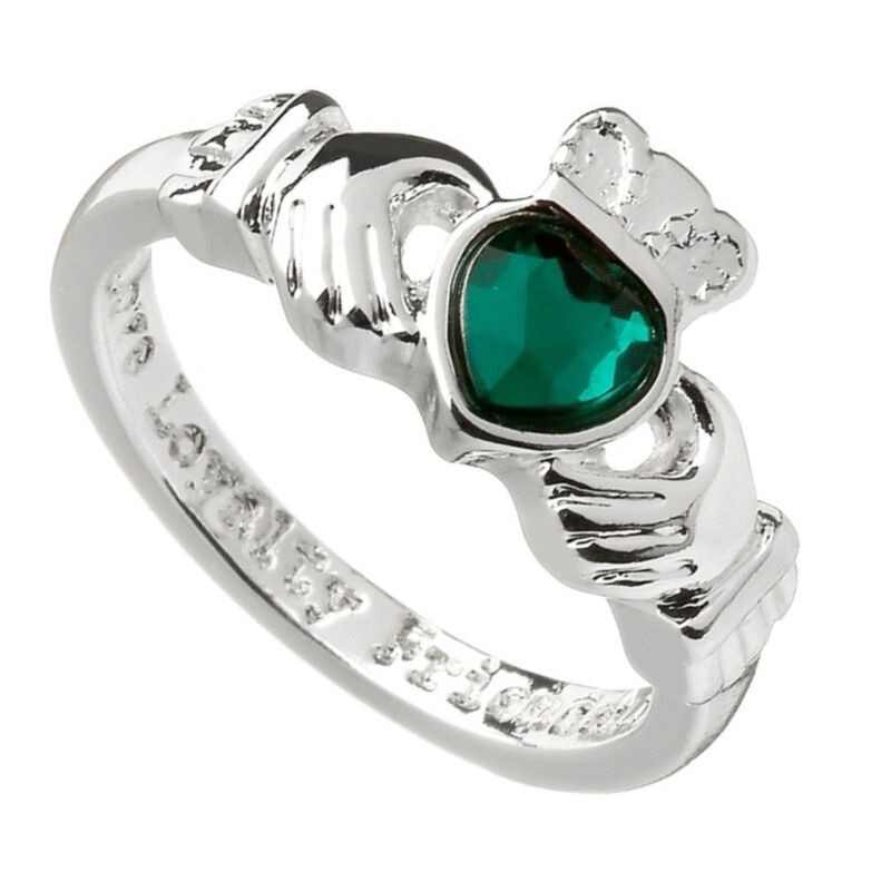 Silver Plated Claddagh Designed Ring With Green Stone