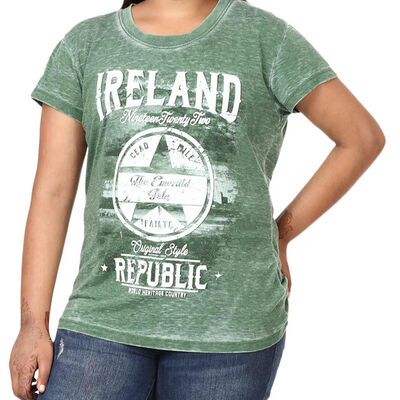 Green Ireland Republic T-Shirt With Star Design and 'Cead Mile Failte' Text