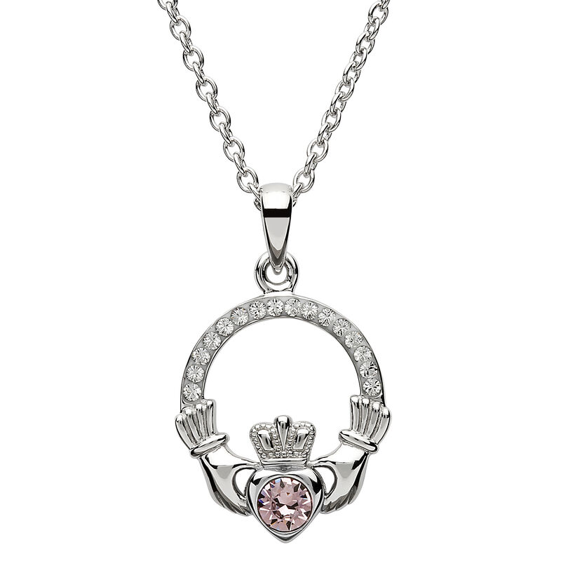 Platinum Plated Claddagh June Birthstone Pendant With Swarovski Crystals