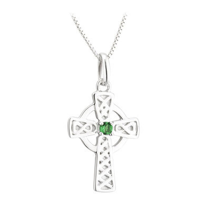 Hallmarked Sterling Silver Large Celtic Cross Pendant with Green Crystal Bead