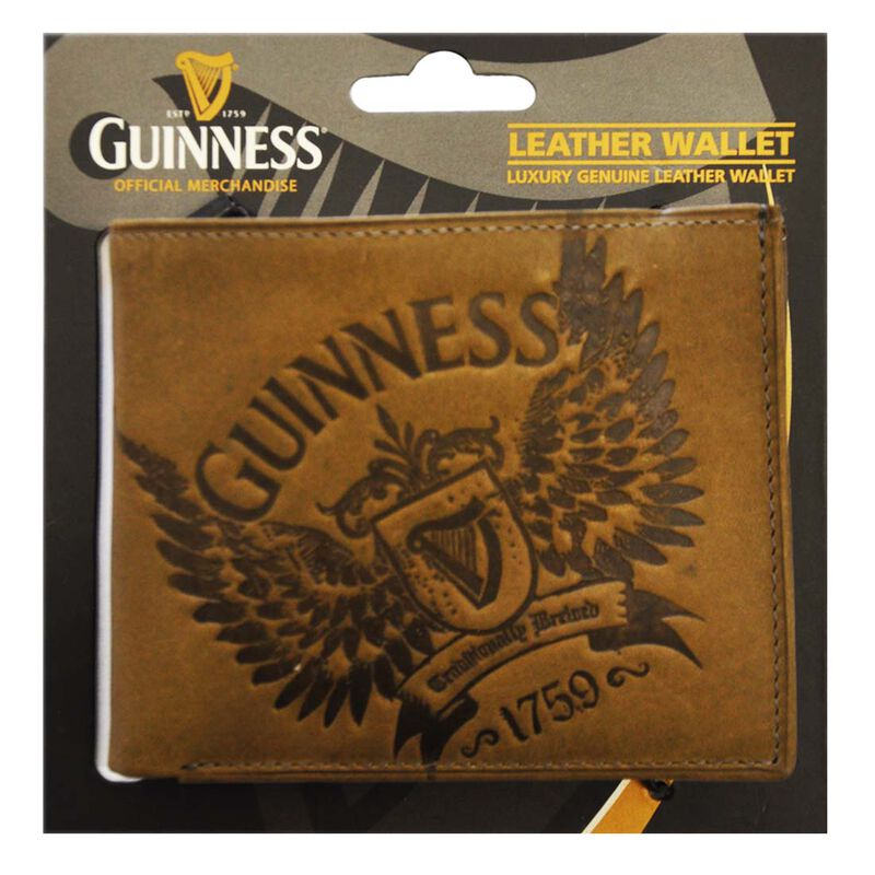 Guinness Brown Leather Credit Card and Notes Wallet With Wings Print