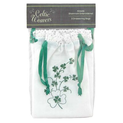 Celtic Weavers Kinsale Shamrock Embroidered White Drawstring Bags  3-Pack