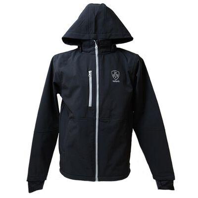 Black Ireland Soft Shell Jacket With Grey Trim And Shamrock Crest