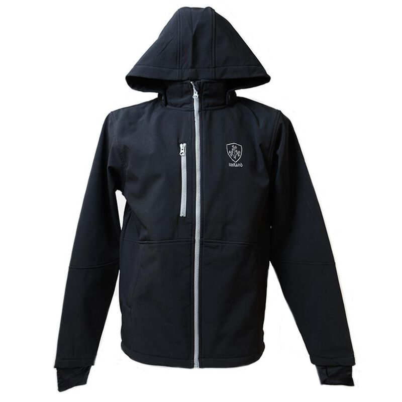 Black Ireland Soft Shell Jacket With Grey Trim And Shamrock Crest
