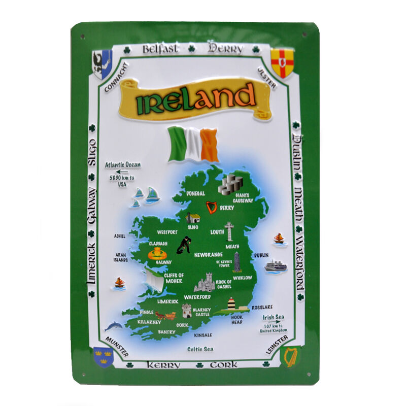 Ireland Map Metal Sign (8Cm X 11Cm)