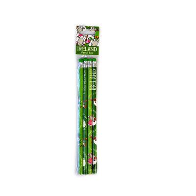 Vierteiliges Bleistiftset mit irischen Schafen  grün