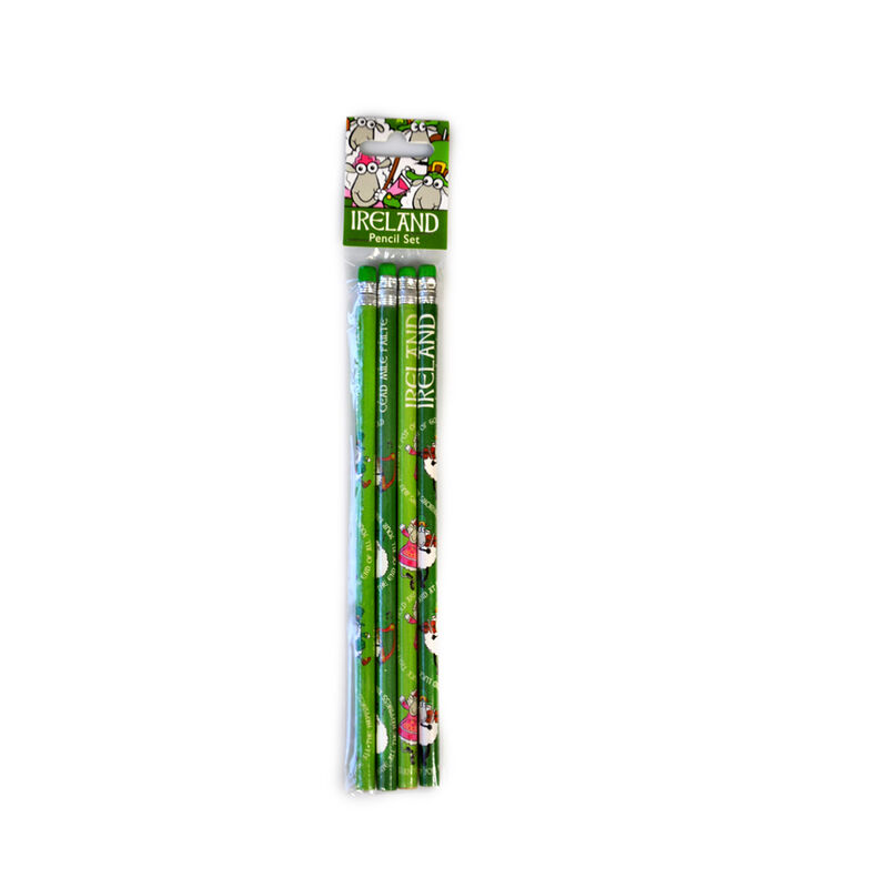 Four Pack Pencil Set With Irish Sheep Design  Green Colour