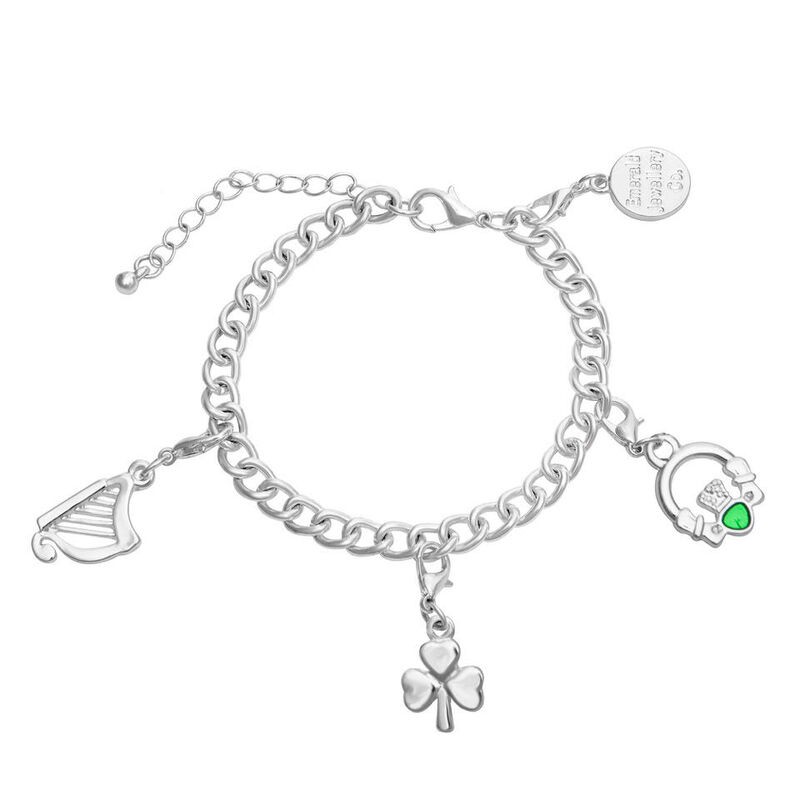 Charm Bracelet With Claddagh  Harp And Shamrock Design