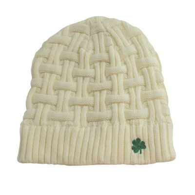 Acrylic Basket Weave Beanie Hat Natural Colour With Green Shamrock