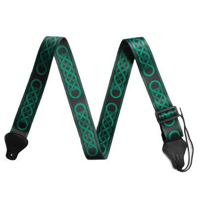 IRELAND Guitar Strap With Green Trinity Design, Black Colour