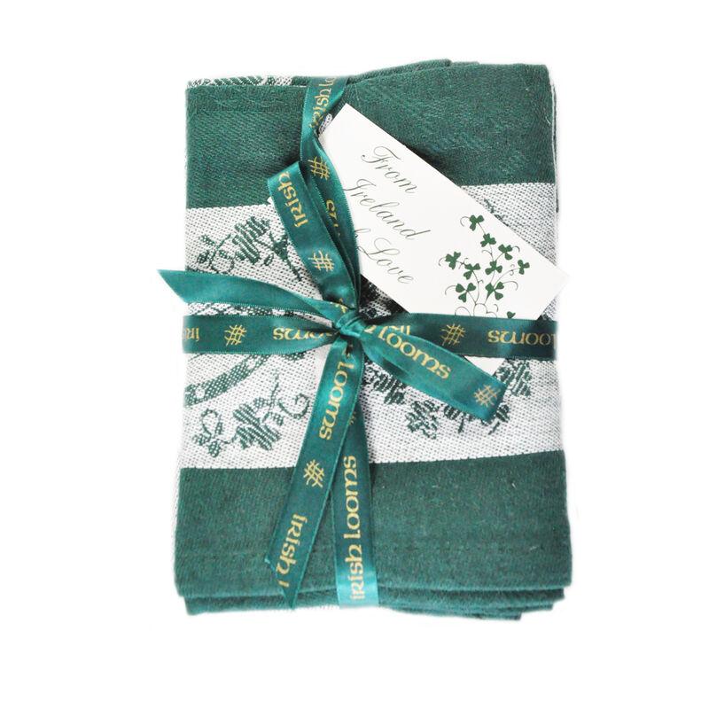 Treasures Of Ireland Embroidered Green Waffle Tea Towel (2 Pack)