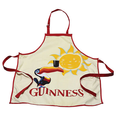 Guinness Toucan 100% Cotton Apron  Creamy Colour With Red Trim