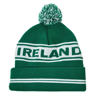 Green Ski Bobble Hat Designed With Ireland Text And White Banner