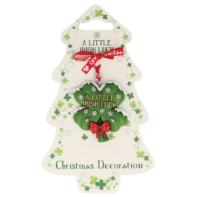 Irish Resin Hanging Decoration With Clover And Snow Flake Design