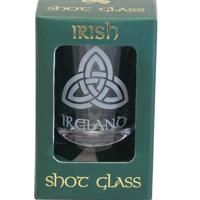 Boxed Irish Shot Glass With Trinity Knot Design