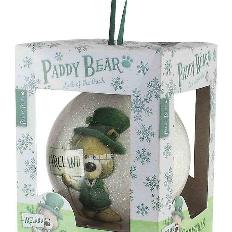 Paddy Bear Irish Designed Glittery Bauble With Shamrock Design