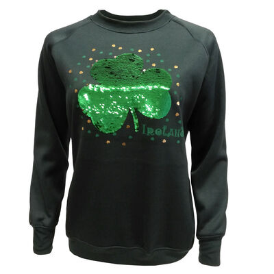 Shamrock Sweater with Ireland Two Way Sequin Design, Green Colour