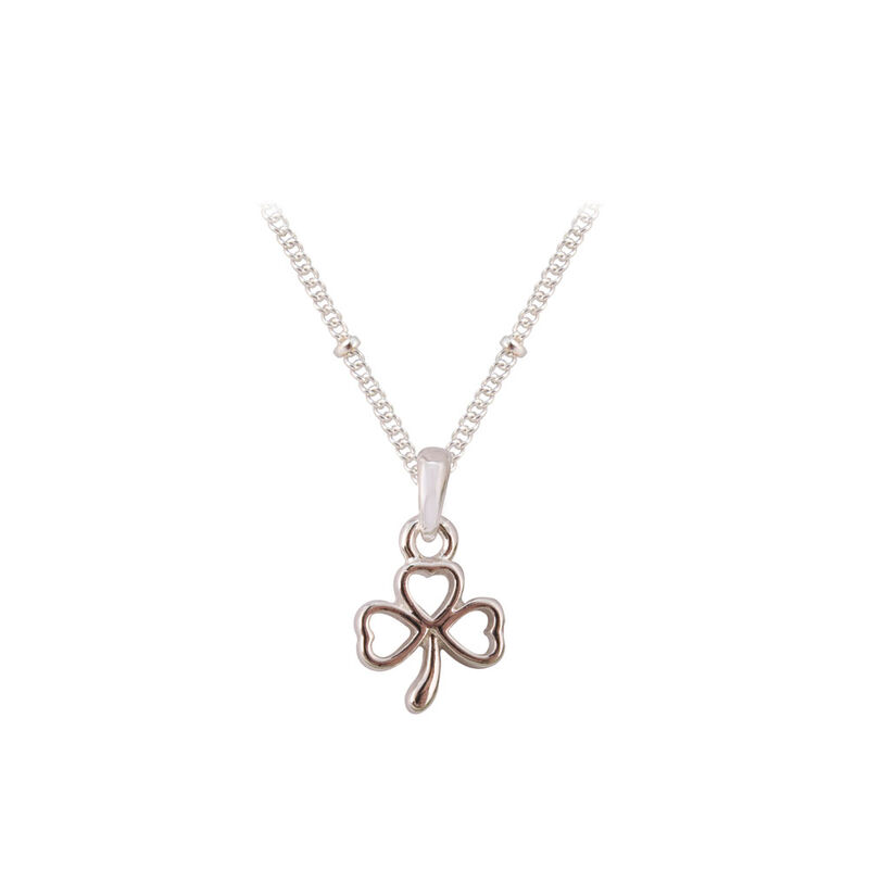 Silver Plated Shamrock Ribbon Pendant