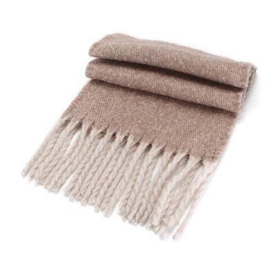Irish Designed Woollen Wrap Scarf 48 X 180cm  Light Brown Colour