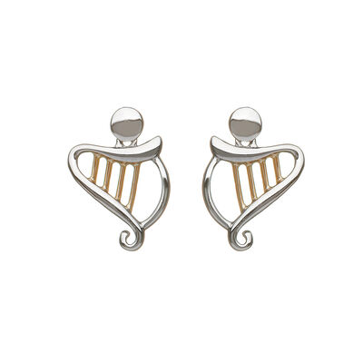 Hallmarked Sterling Silver Celtic Harp Earrings With Rose Gold Design