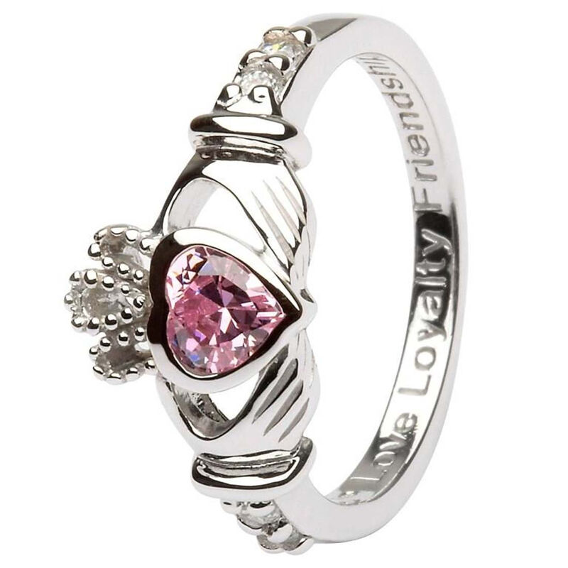 Hallmarked Sterling Silver Claddagh October Birthstone Ring