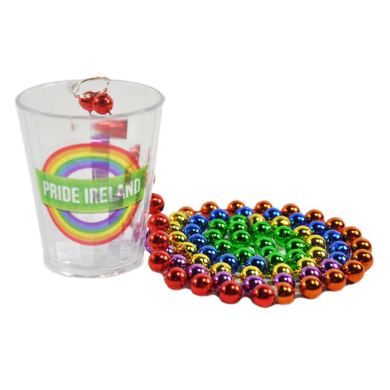 Pride Coloured Shot Glass With Pride Ireland Design And Print Coloured Beads