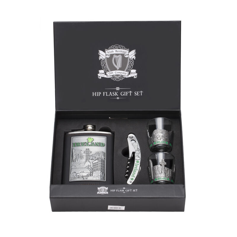 Ireland Stainless Steel Hip Flask Gift Set With Two Shot Glasses And Bottle Opener