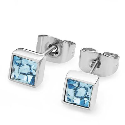 Tipperary Crystal March Silver Square Aquamarine Crystal Birthstone Earrings