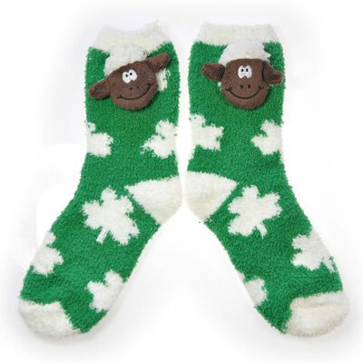 Green Fleece Socks With White Polka Dots and Soft Seamus The Sheep Head