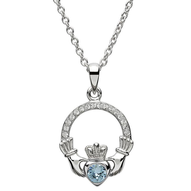 Platinum Plated Claddagh March Birthstone Pendant With Swarovski Crystals
