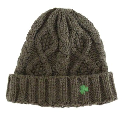 Man Of Aran Knit Style Beanie Hat With Irish Cable Stitch  Olive Green Colour