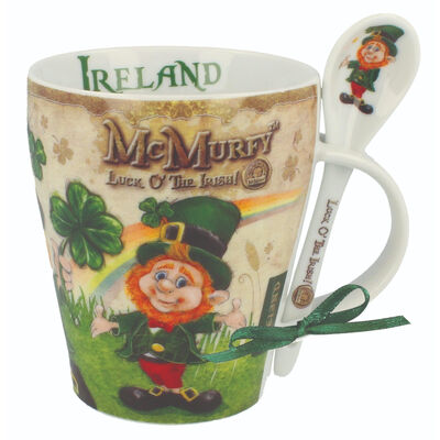 McMurfy Luck O' The Irish Leprechaun Designed Mug and Spoon Set