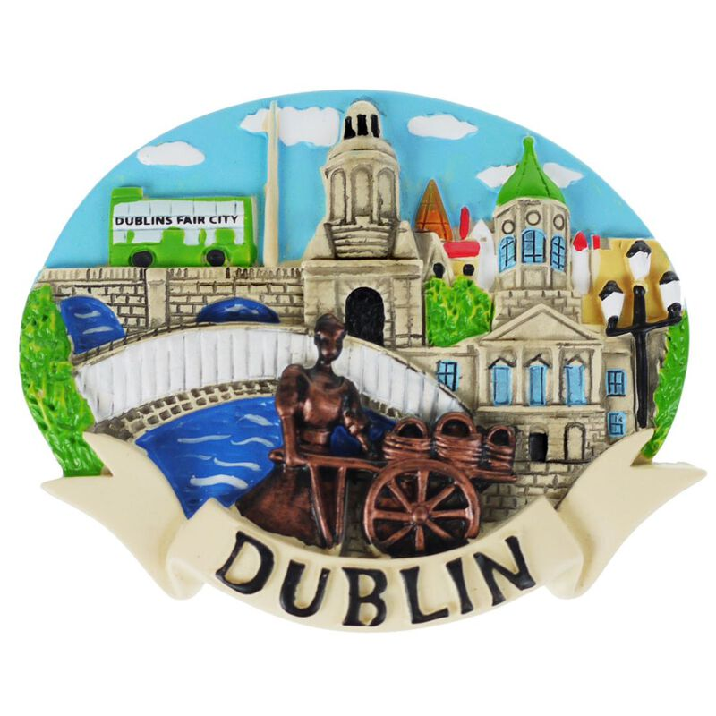 Irish Resin Magnet With Molly Malone And Scenes Of Dublin Design