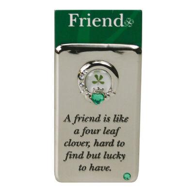 Metallmagnet mit vierblättrigem Kleeblatt - ein Glücksbringer für Freunde