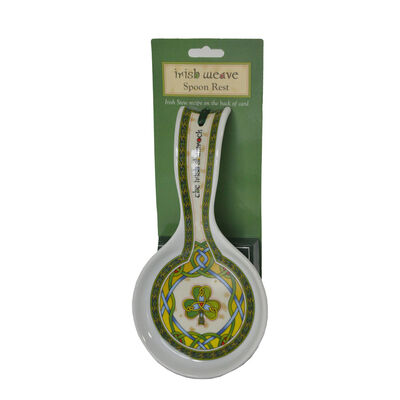 Irish Weave Ceramic Spoon Rest With Celtic And Shamrock Design  230Mm X 75Mm