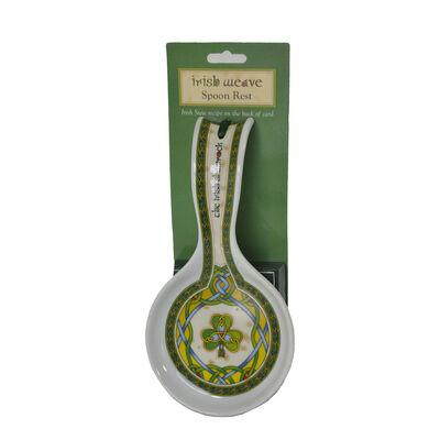Irish Weave Keramik Löffelablage mit keltischem und Shamrock Design  230mm x 75mm