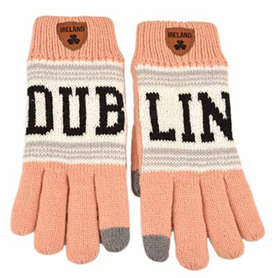 Irish Connexxion Limited Edition Dublin Knitted Gloves  Pink Colour