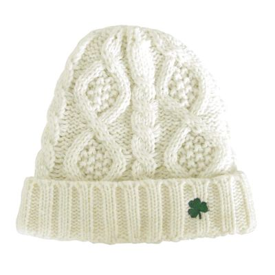 Man Of Aran Knit Style Beanie Hat With Irish Cable Stitch  Cream Colour
