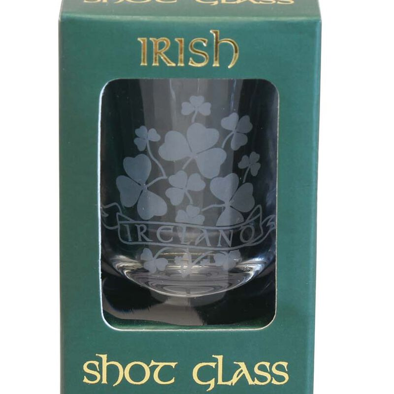 Boxed Irish Shot Glass With Sprig Of Shamrocks Design