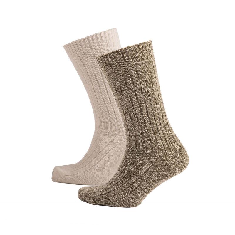 Heritage Traditions Merino Mix Walking Sock 2 Pack, Stone & Marl Cream Colour