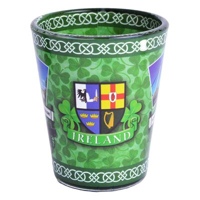 Shot Glass With Various Popular Scenes Of Ireland And Shamrock Design