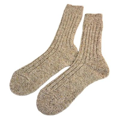 Doogan Donegal 100% Pure Wool Irish Walking Socks  Oatmeal Fleck Colour