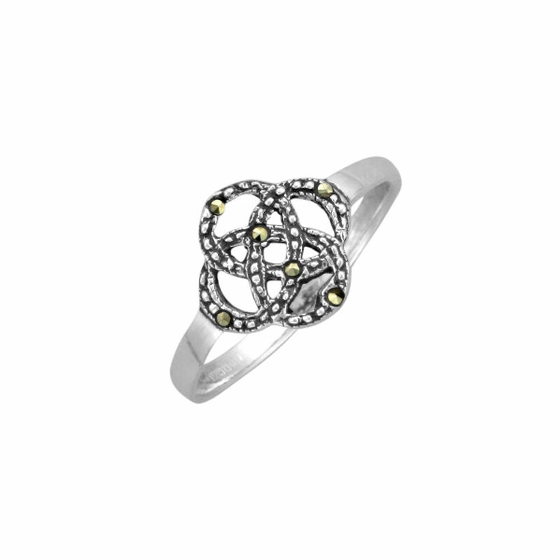 Hallmarked Sterling Silver Celtic Knot Design With Marcasite Finish