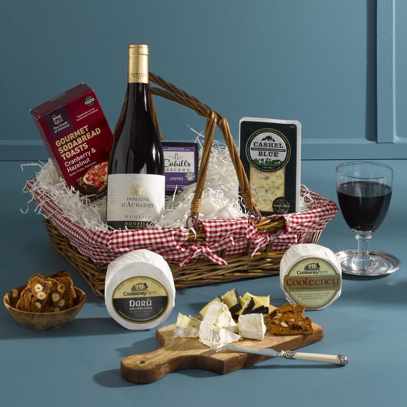 The Irish Cheese and Wine Hamper In Carrier Basket (Europe Only)
