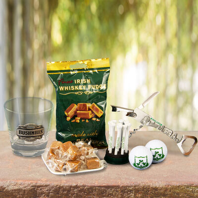 Fathers Day Whiskey Glass & Fudge With Corkscrew & Golf Set Hamper