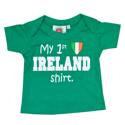 Green Kid's T-Shirt With 'my 1St Ireland Shirt' andamp; Tricolour Crest Print
