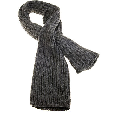100% Merino Wool Pull Through Ribbed Aran Scarf, Charcoal Colour
